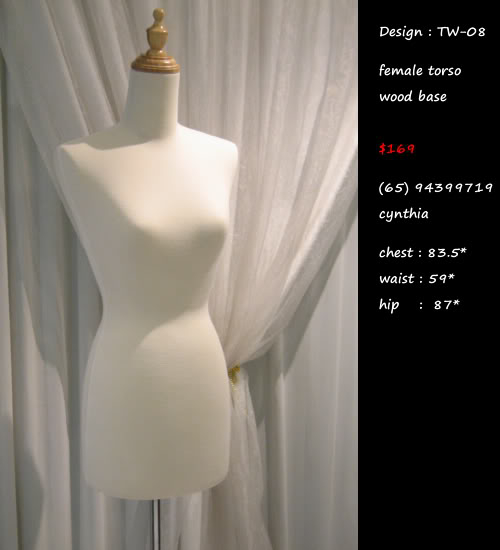 Torso wood base mannequin beige color TW-22