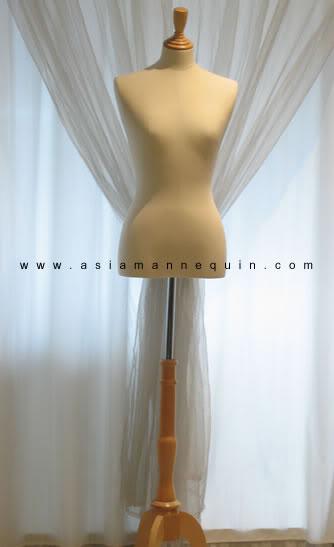 Torso wood base foam mannequin beige color