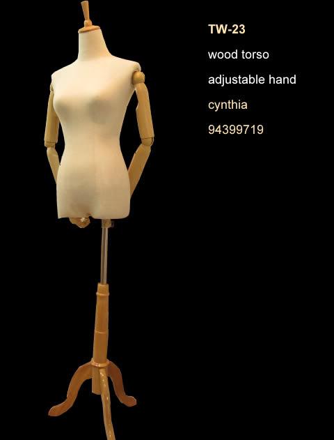 Torso wood base mannequin beige color TW-23